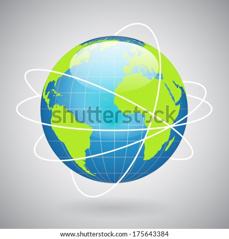 Earth globe icon with global technology or social connection network concept vector illustration - stock vector