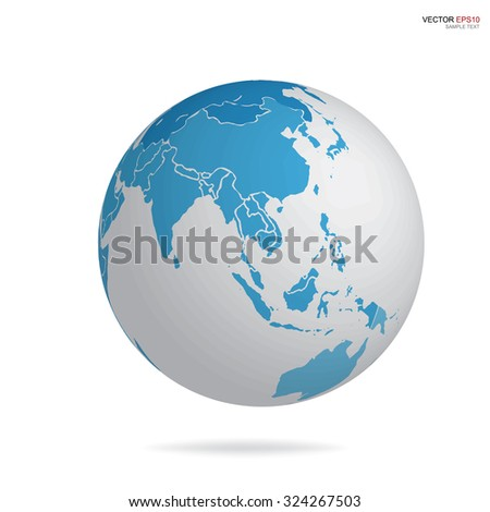 Earth globe icon with image of world map. Vector illustration.