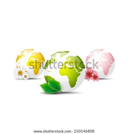 Earth globe icons set - stock vector