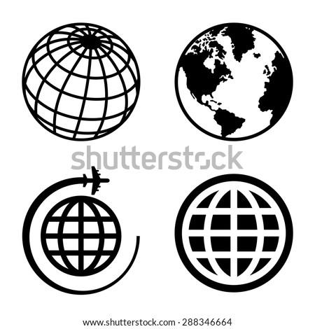 Earth Globe Icons Set.  - stock vector