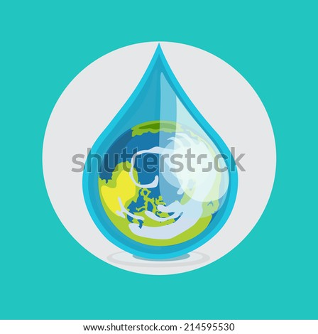 earth globe in drop of water flat design vector icon - stock vector