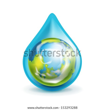 earth globe in water droplet isolated on white - stock vector