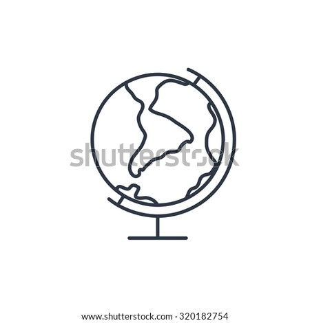 Earth globe outline icon  - stock vector