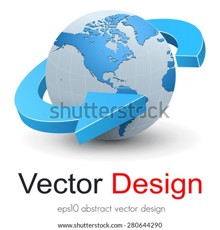 Earth globe, planet with dynamic arrow, 3D vector design.