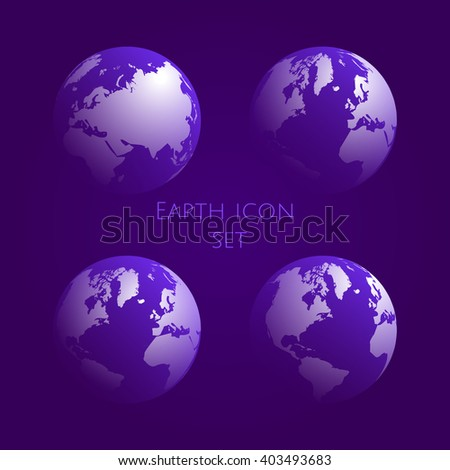 Earth Globe purple Icon Set.  globe symbol gradient kit .Vector illustration. EPS 10
