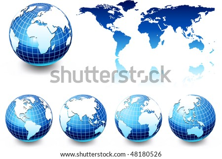 earth globe set, different views - stock vector