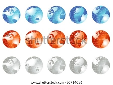 Earth globe set in three colors, vector illustration