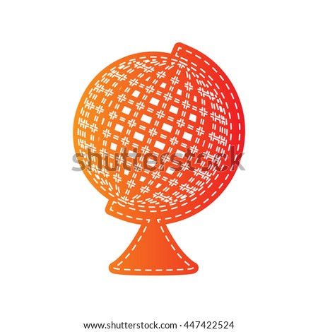Earth Globe sign. Orange applique isolated.