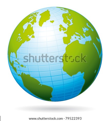 Earth globe vector icon. Atlantic view.