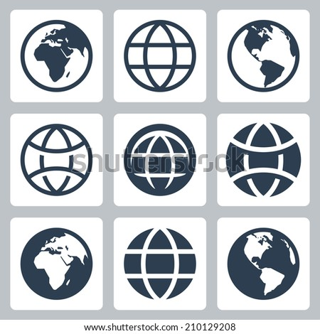 Earth globe vector icons set