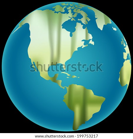Earth Globe with a blurred bamboo forest texture vector illustration