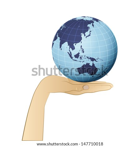 earth globe with asia on human palm vector illustration - stock vector