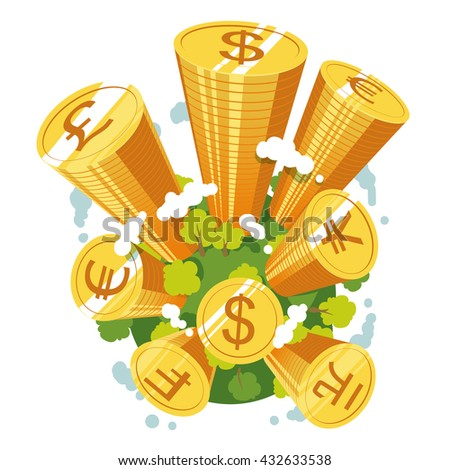 Earth globe with coins stacks growing through the sky like money skyscrapers. World reserve currencies concept. Flat style vector illustration clipart. - stock vector