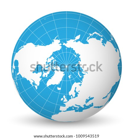 Earth globe green world map blue stock vector 1009543519 earth globe with green world map and blue seas and oceans focused on arctic ocean and gumiabroncs Gallery