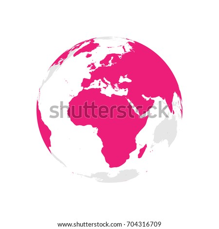 Earth globe pink world map focused stock vector 704316709 shutterstock earth globe with pink world map focused on africa and europe flat vector illustration gumiabroncs Gallery