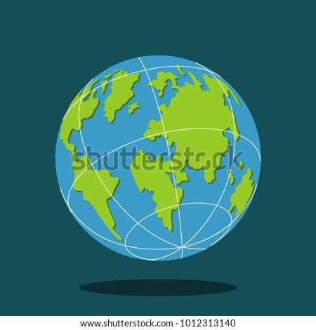 Earth globe world map flat planet stock vector hd royalty free earth globe with world map flat planet vector icon isolated on background gumiabroncs Gallery