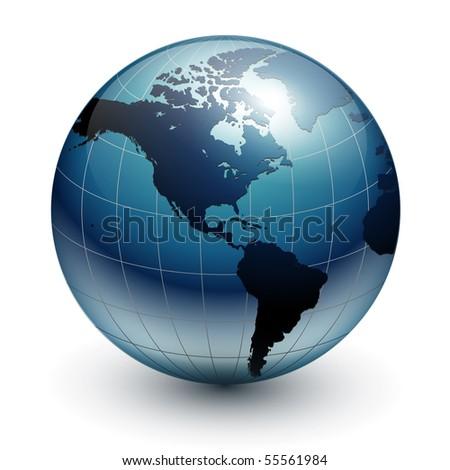 Earth globe, world glossy detailed vector illustration. - stock vector