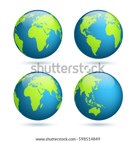 Earth Globe World Map Set Planet Stock Vector Shutterstock - Globe map of the world