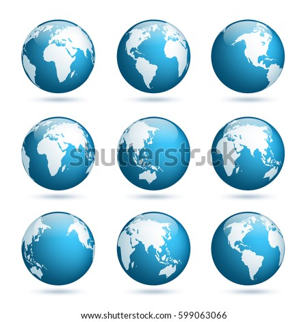 Earth globe world map set planet stock vector 599063066 shutterstock earth globe world map set planet with continentsrica asia australia gumiabroncs Choice Image
