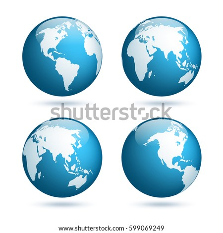 Earth globe world map set planet vectores en stock 599069249 earth globe world map set planet with continentsrica asia australia gumiabroncs Choice Image