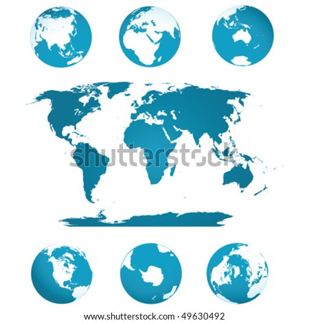Earth globes and world map in blue tones over white background