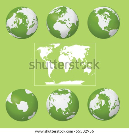 Earth Globes collection vector isolated on green background - stock vector