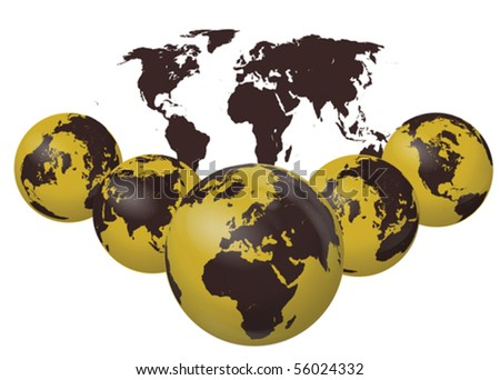 Earth Globes collection vector isolated on white - stock vector