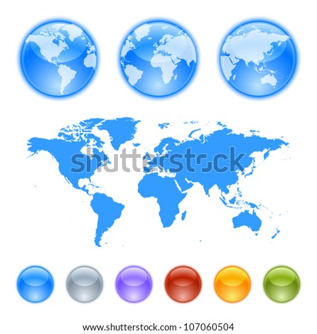 Earth globes creation kit. Contains a map, globe samples and globes to create your own earth globe. - stock vector