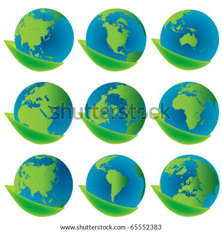 Earth globes , eco concept icons
