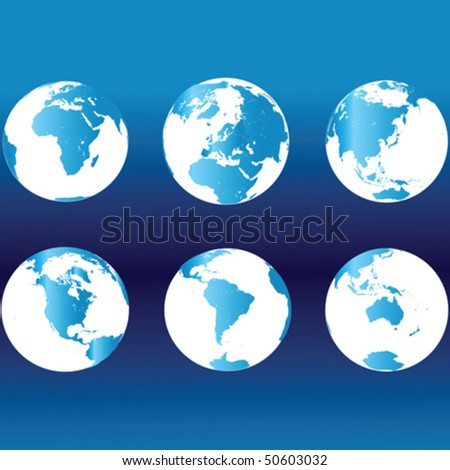 Earth globes in blue colors