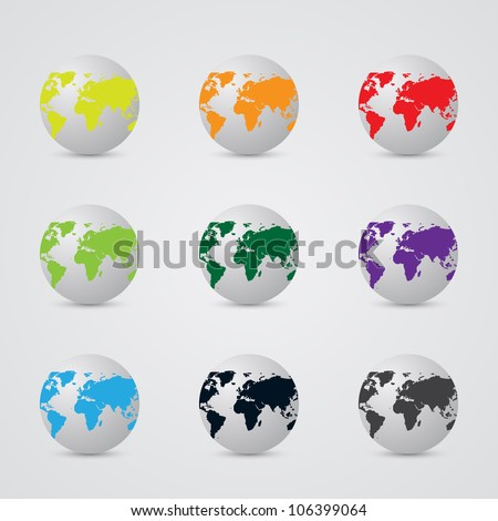 Earth Globes in Different Colors