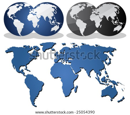 Earth globes over continents. - stock vector