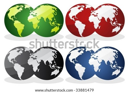 Earth globes over continents.