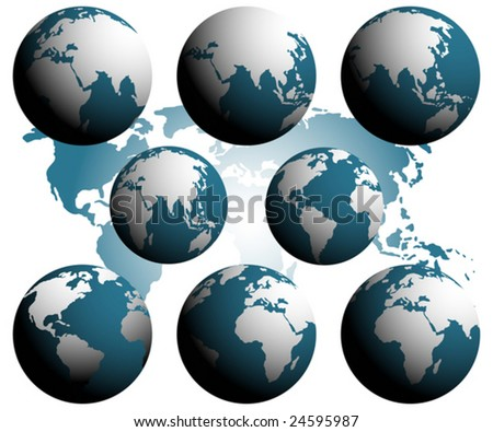 Earth globes over continents. To see similar please visit my gallery.