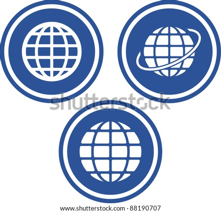 Earth globes - Vector icons - stock vector