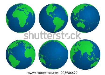 Earth globes. Vector illustration. - stock vector