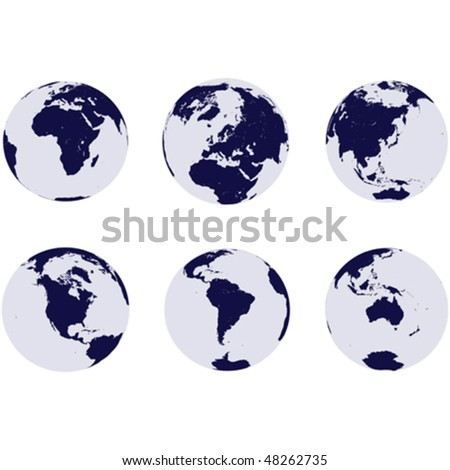 Earth globes with continents