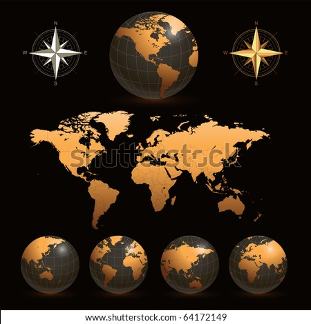 Earth globes with detailed world map, vector. - stock vector