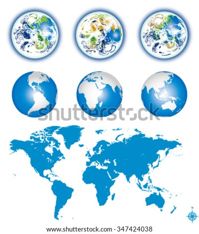 Earth globes with world map- editable vector