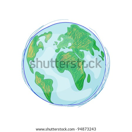Earth Hand drawn - stock vector