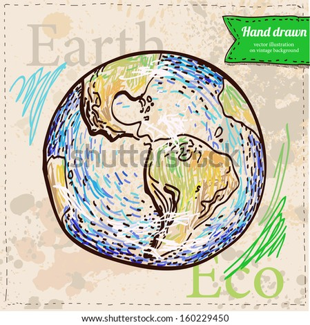Earth. Hand drawn on vintage textured background in color. Vector eps 8. Sketchy design element. - stock vector