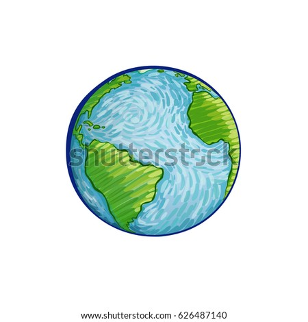 Earth handdrawn on white background world stock vector 626487140 earth hand drawn on white background world map or globe in doodles style gumiabroncs Gallery