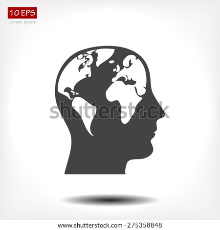 earth head icon. Vector  Eps 10  - stock vector
