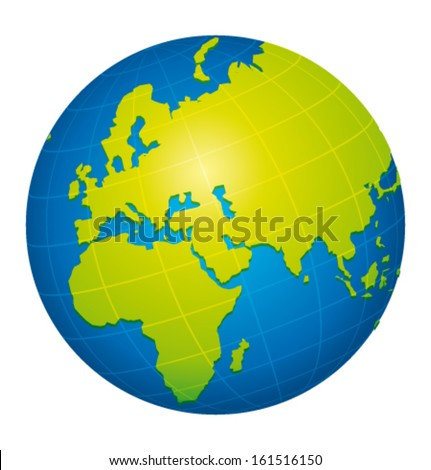 Earth icon. African, european and eastern view. Vector illustration. - stock vector