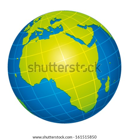 Earth icon. African view. Vector illustration. - stock vector