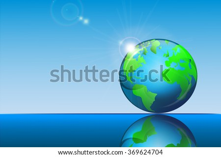 earth icon glossy design - stock vector