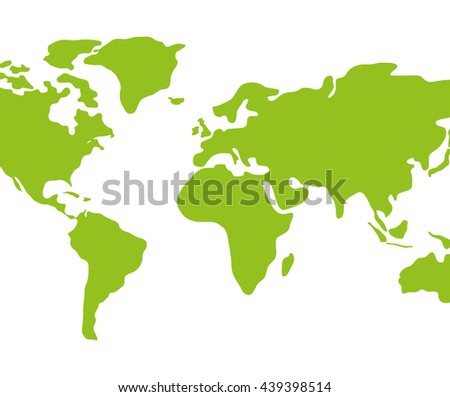 Earth icon. Green continents design. vector graphic - stock vector