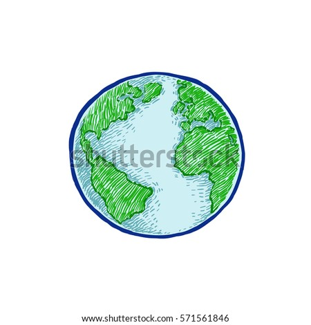 Earth icon handdrawn on white background stock vector 571561846 earth icon hand drawn on white background world map or globe in doodles style gumiabroncs Gallery