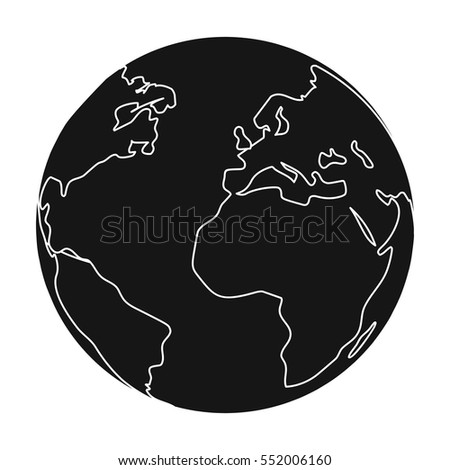 Earth icon in black style isolated on white background. Bio and ecology symbol stock vector illustration.