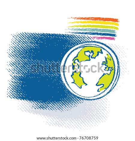 Earth icon, rainbow symbol included - stock vector